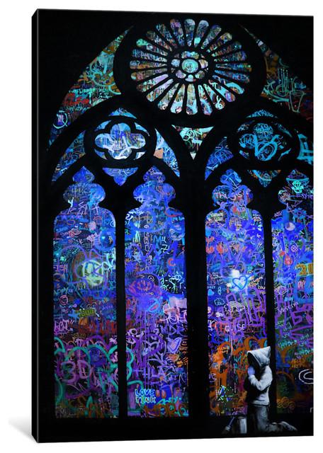 """stained Glass Window Ii"" By Banksy, 60x40x1.5""."
