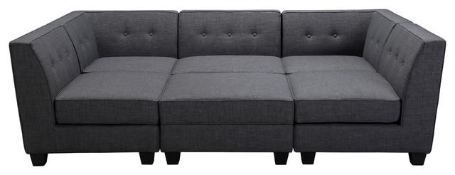Vendome Modular Gray Fabric 6 Piece Sectional