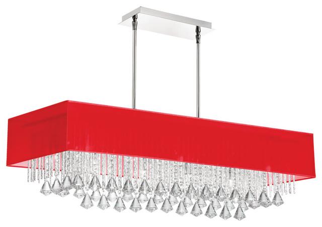 10 Light Horizontal Crystal Chandelier Red Linen