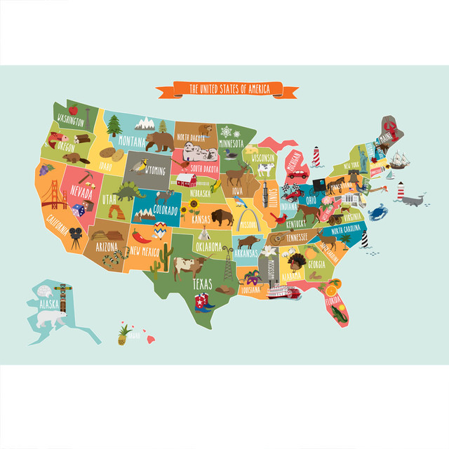 Simple Shapes The USA Map Poster Wall Sticker Baby And Kids – Map Usa Games for Kids