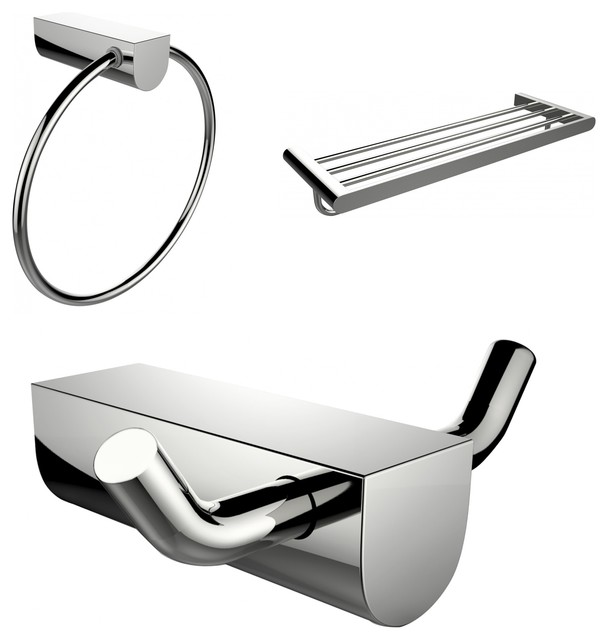 Chrome Plated Towel Ring With Multi-Rod Towel Rack and Robe Hook Accessory Set