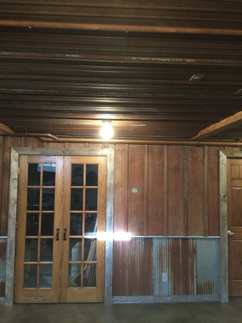 Latest basement remodel all reclaimed barn wood for Metal barn over basement