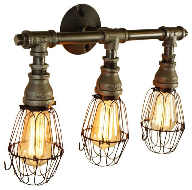 Vintage Style 3 Bulb Vanity Light Industrial Bathroom Vanity Lighting By Loft Essentials Houzz