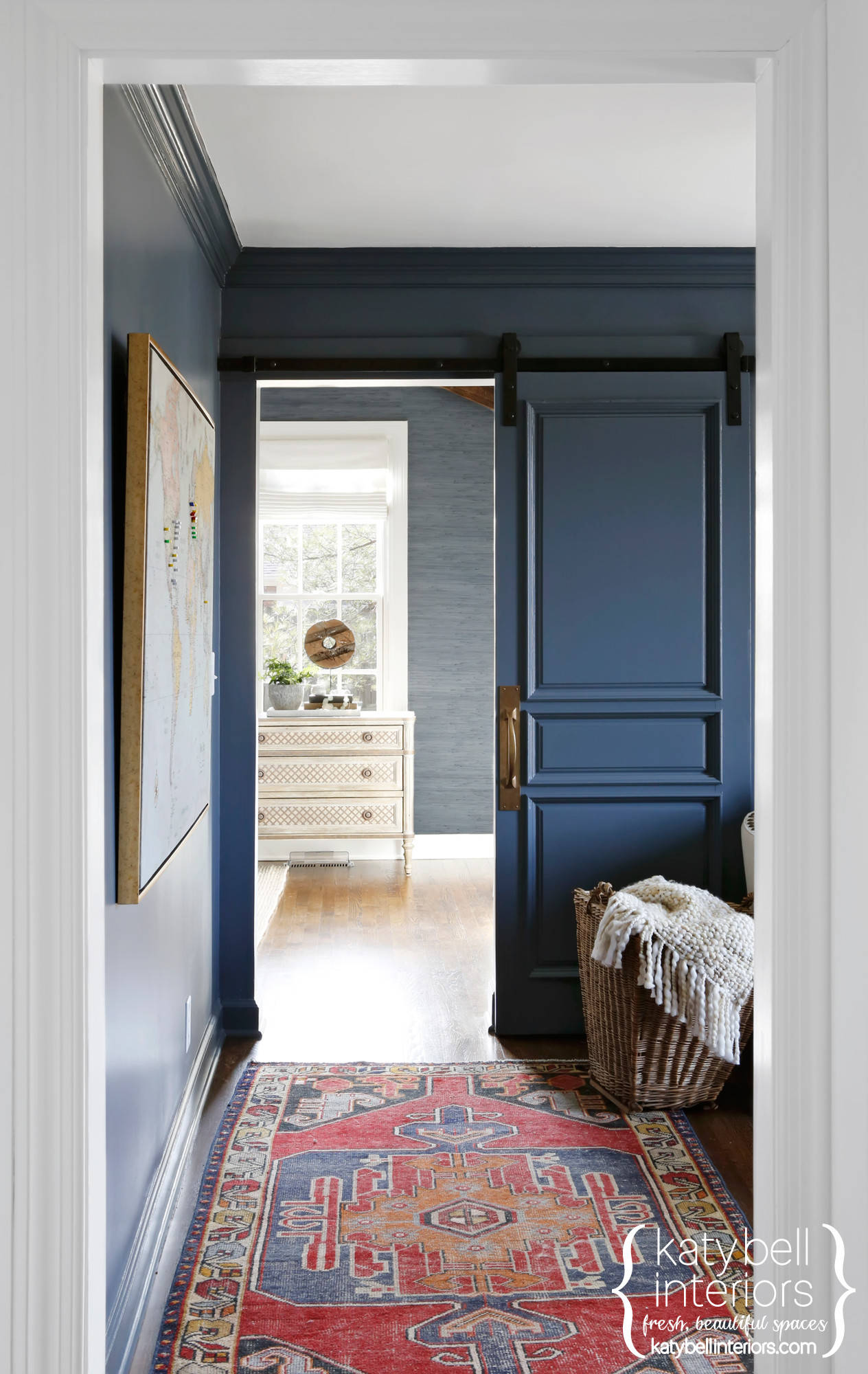 Blue Grasscloth Foyer