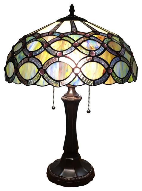 Prisma Tiffany Style 2 Light Table Lamp 16 Quot Shade