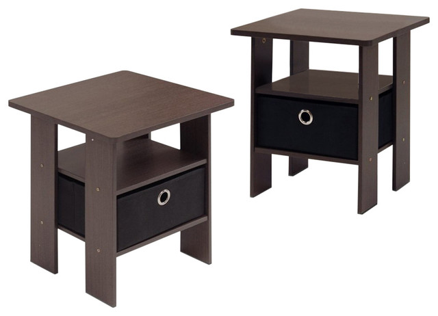Furinno 2-11157dbr Petite Bedroom Night Stands, Set Of 2.