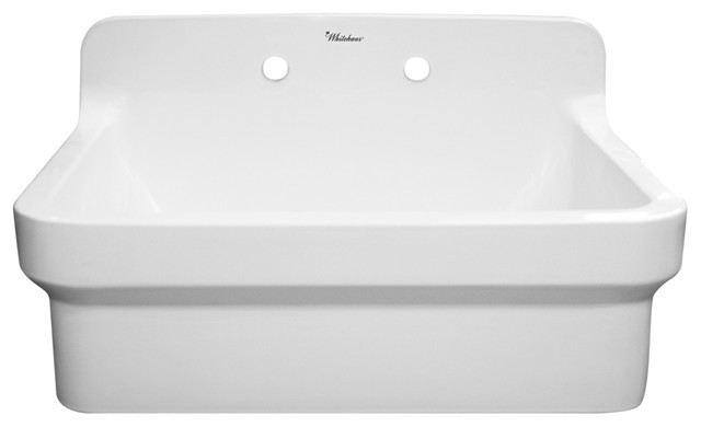 Ceramic Utility Sink : ... Laundry Sink With High Backsplash, White - Utility Sinks Houzz