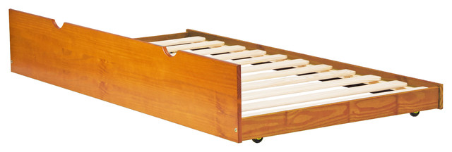 100% Solid Wood Twin Trundle On Wheels, Honey Pine.