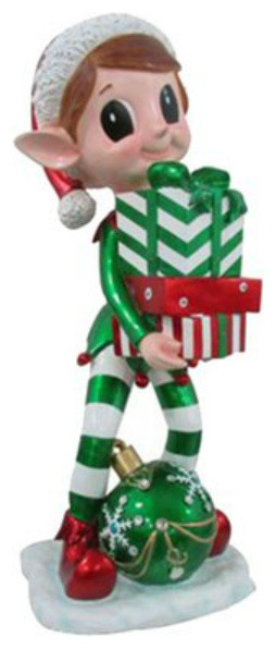 Reson Elf Statue Holding Gift Box And Led Lighted Christmas Ornament, 38.