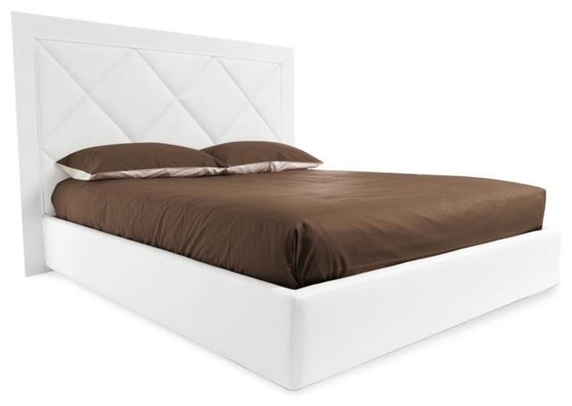 Diamond upholstered storage bed ekos white frame matte for Diamond bed frame