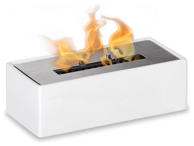 Mia White Tabletop Ventless Ethanol Fireplace
