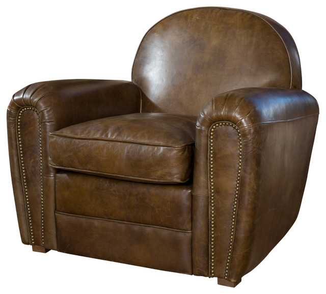 Glen Distressed Whiskey Arm Chair Traditional