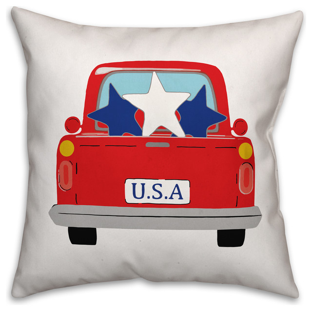 Usa Vintage Truck 18x18 Throw Pillow Contemporary Decorative Pillows By Designs Direct