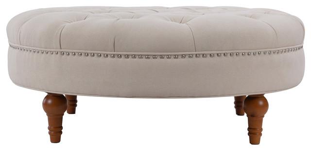 Miraculous Lana Tufted Round Ottoman Bone White Spiritservingveterans Wood Chair Design Ideas Spiritservingveteransorg
