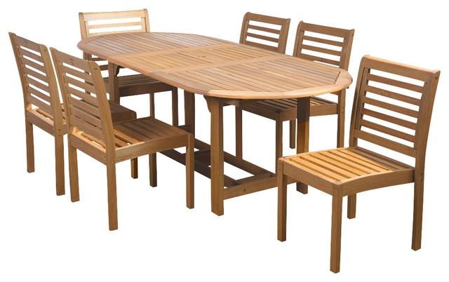 Eucalyptus 7-Piece Armless Oval Extendable Patio Dining Set