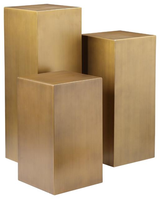 Cube 3 Piece Pedestal Table Set - Contemporary - Side ...