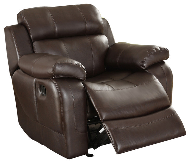 Homelegance Marille Rocking Reclining Chair, Brown Leather