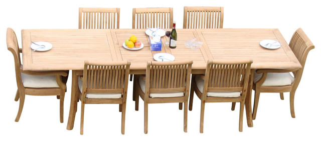 9 Piece Teak Dining Set 117 Extension Rectangle Table 8 Giva Arm Chairs Traditional Outdoor Dining Sets By Teak Deals