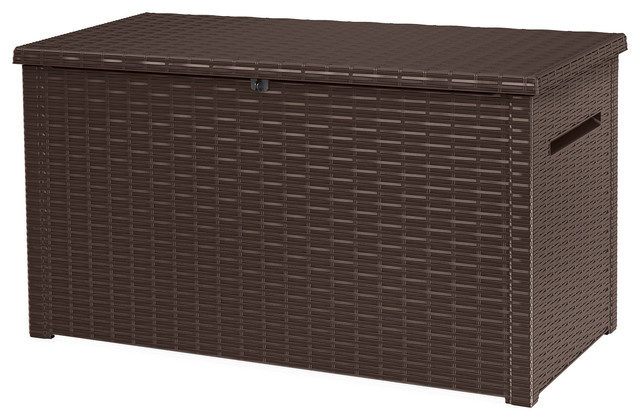 Keter XXL Java 230 Gallon Rattan Look Outdoor Deck Storage Box, Brown