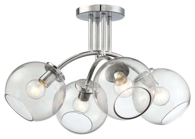 Exposed 4-Light Semi-Flush Mount Chrome Tinted Smoke Glass.