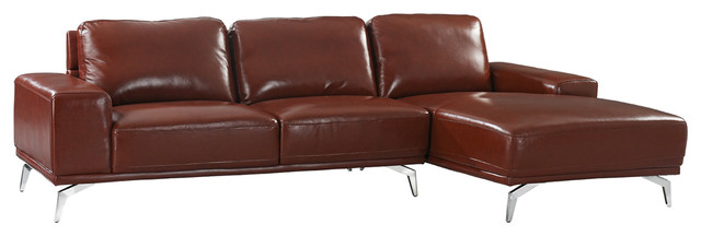 Modern Real Leather Sectional Sofa With Right Facing Chaise Lounge, Light Brown.