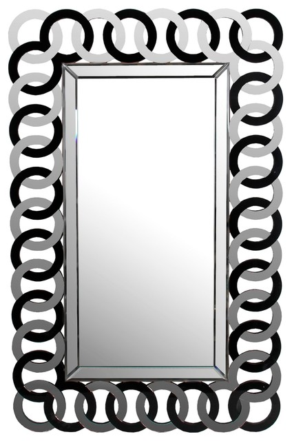 """Black Glass And Mirrored Ring Framed Wall Mirror, 47.5""""x30""""."""