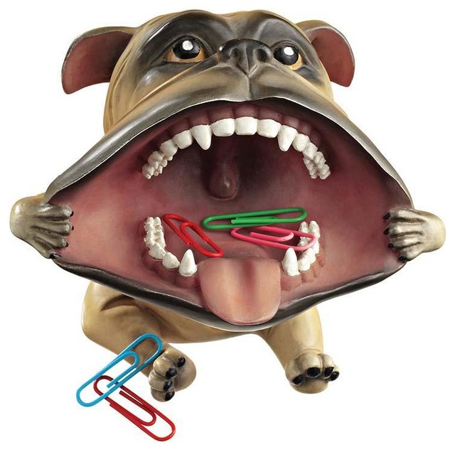Irritant Large Mouth Dog Statue Desktop Accessory Storage