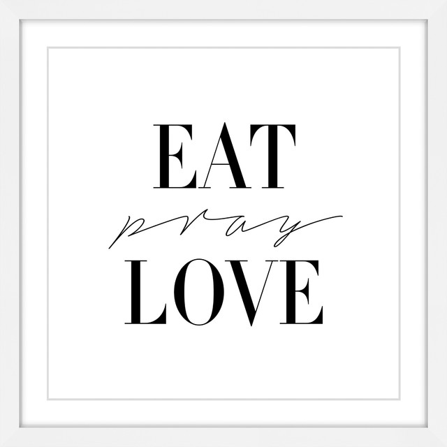 "Modern Kitchen Wall Decor Eat Pray Love Trio By: ""Eat Pray Love"" Framed Painting Print"