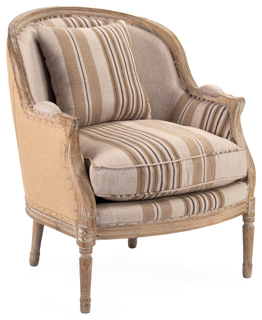 Raymond French Country Burlap Brown Stripe Club Chair