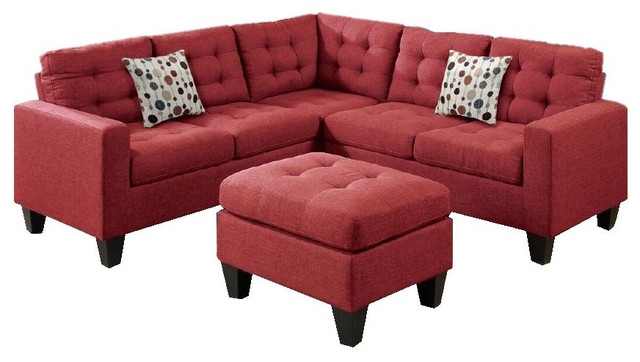 rhodes modular sectional with ottoman red