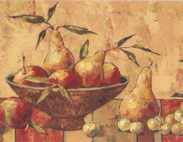 Faux Paint Pear Apple Plum Grapes Kitchen Table Brown Vintage Wallpaper  Border