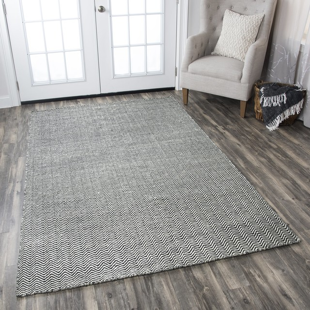 Rizzy Twist Tw-2966 Solid Color Rug, Black, 2&x27;6x8&x27;0 Runner.