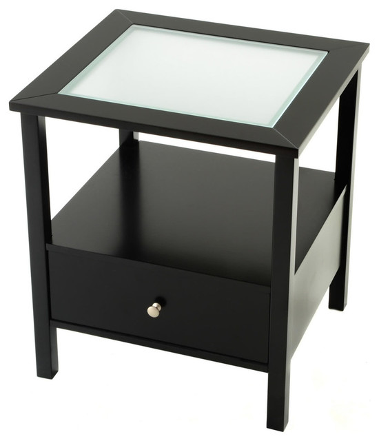 End Table With Glass Insert Top And Drawer   Black Contemporary Side Tables