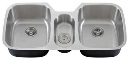 43   stainless steel undermount triple bowl kitchen sink 16 gauge kitchen  sinks 43   stainless steel undermount triple bowl kitchen sink 16 gauge      rh   houzz com