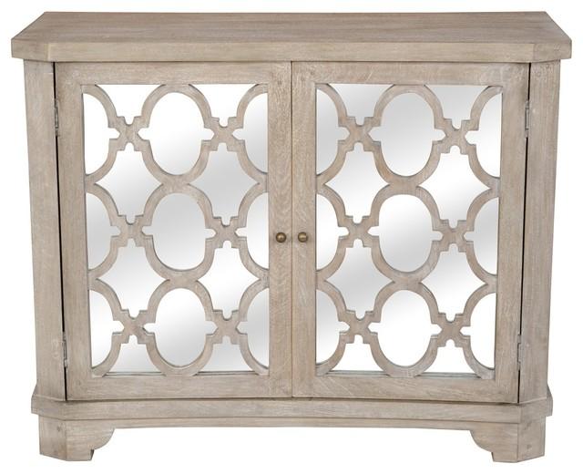 Lattice Whitewash 2 Door Mirrored Wood Small Sideboard