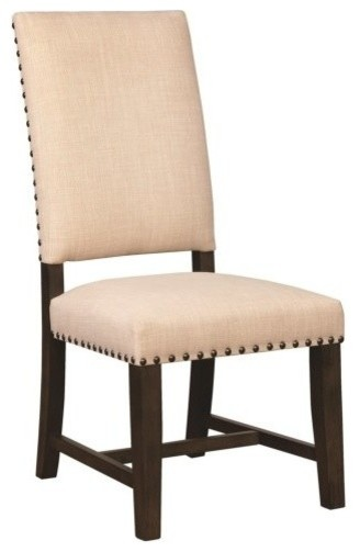 Upholstered Parson Dining Chairs With Nailhead Trim, Set of 2, Beige