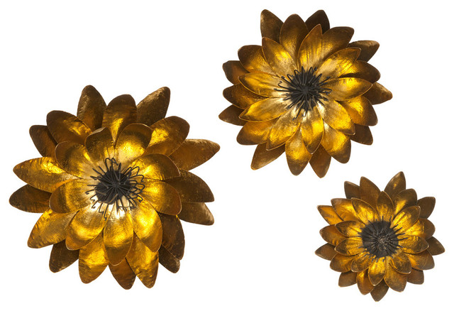 Metal Wall Art Flowers evelyn gold leaf wall flowers, 3-piece set - contemporary - metal