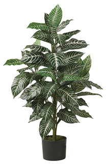 nearly natural home decorative zebra silk plant, green, 3
