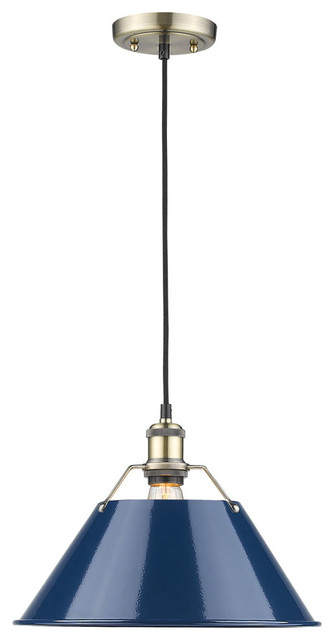 "Orwell 1-Light Pendant, 14"", Aged Brass With Navy Blue Shade."