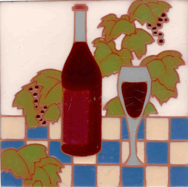 Wine and Grapes Coaster/Decorative Tile 4\u0027\u0027x4\u0027\u0027 Square : decorative wine plates - pezcame.com
