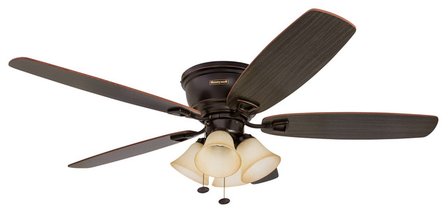 "52"" Glen Alden Indoor Hugger Ceiling Fan With Light, Oil Rubbed Bronze."