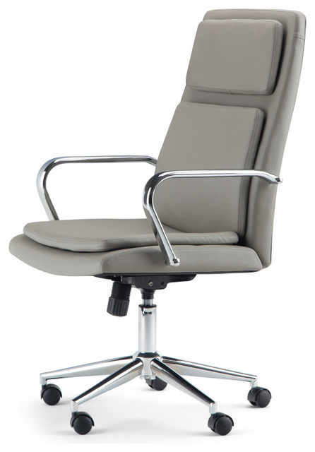 Swanson Swivel Office Chair Taupe Faux Leather Contemporary Office Chairs By Simpli Home Ltd