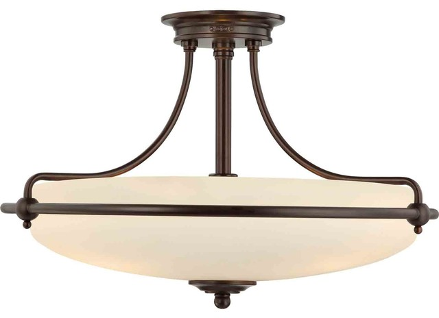 Quoizel Lighting Gf1721pn Griffin Semi-Flush Mount Light In Palladian Bronze.
