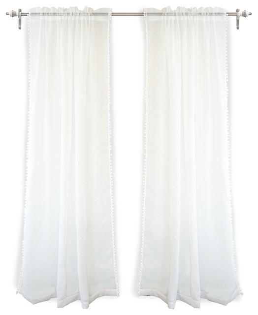 "DriftAway Laura Pom Pom Sheer Window Curtains, Set Of 2, Plus 2"" Header, White"