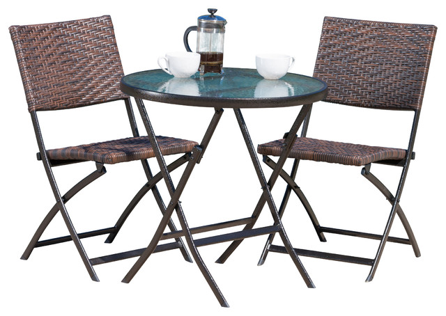 Cantinela 3 Piece Outdoor Folding Set Tropical Outdoor Pub And Bistro