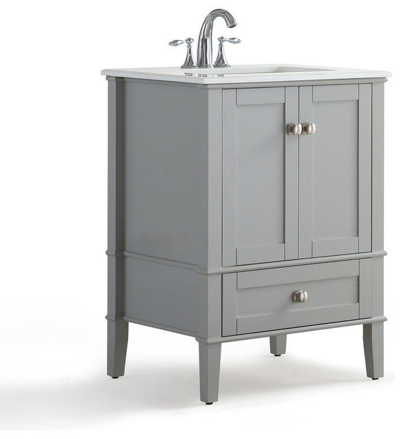"Kemsley Vanity Unit, Gray With White Quartz Marble Top, 24""."