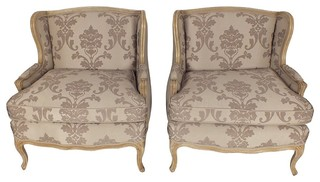 1930's Provincial Style Pair of Wide Armchairs