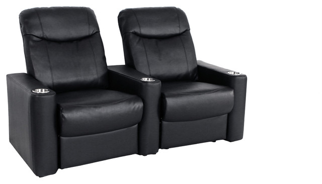 Seatcraft Argonaut Home Theater Seating Leather Black Row Of 2
