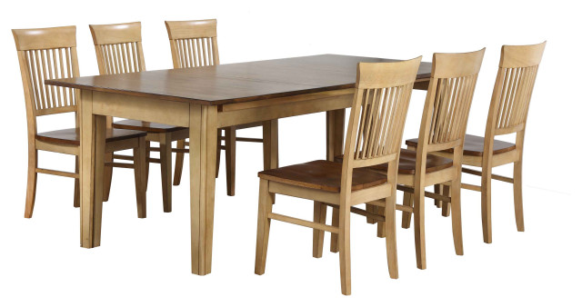Sunset Trading 7 Piece Brook Rectangular Extendable Dining Table Transitional Dining Sets By Sunset Trading