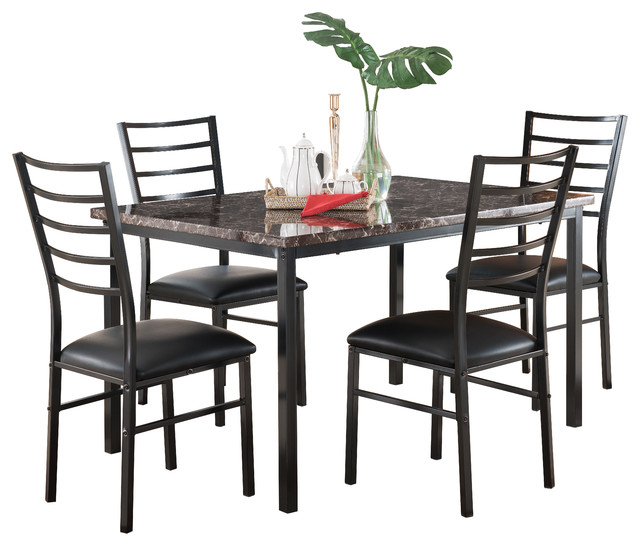 metal marble dining room kitchen table 4 black chairs dining sets
